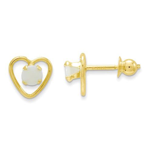 14k Yellow Gold Children's 3mm Opal Birthstone Heart Post Stud Earrings.
