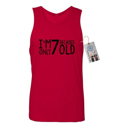 70th Birthday T Shirt Im Only 7 Decades Old Mens Tank Top