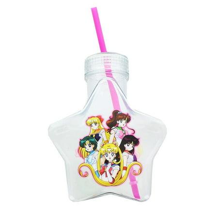 Sailor Moon 20oz Star Shaped Water Bottle w/ Glitter Lid & Straw ()