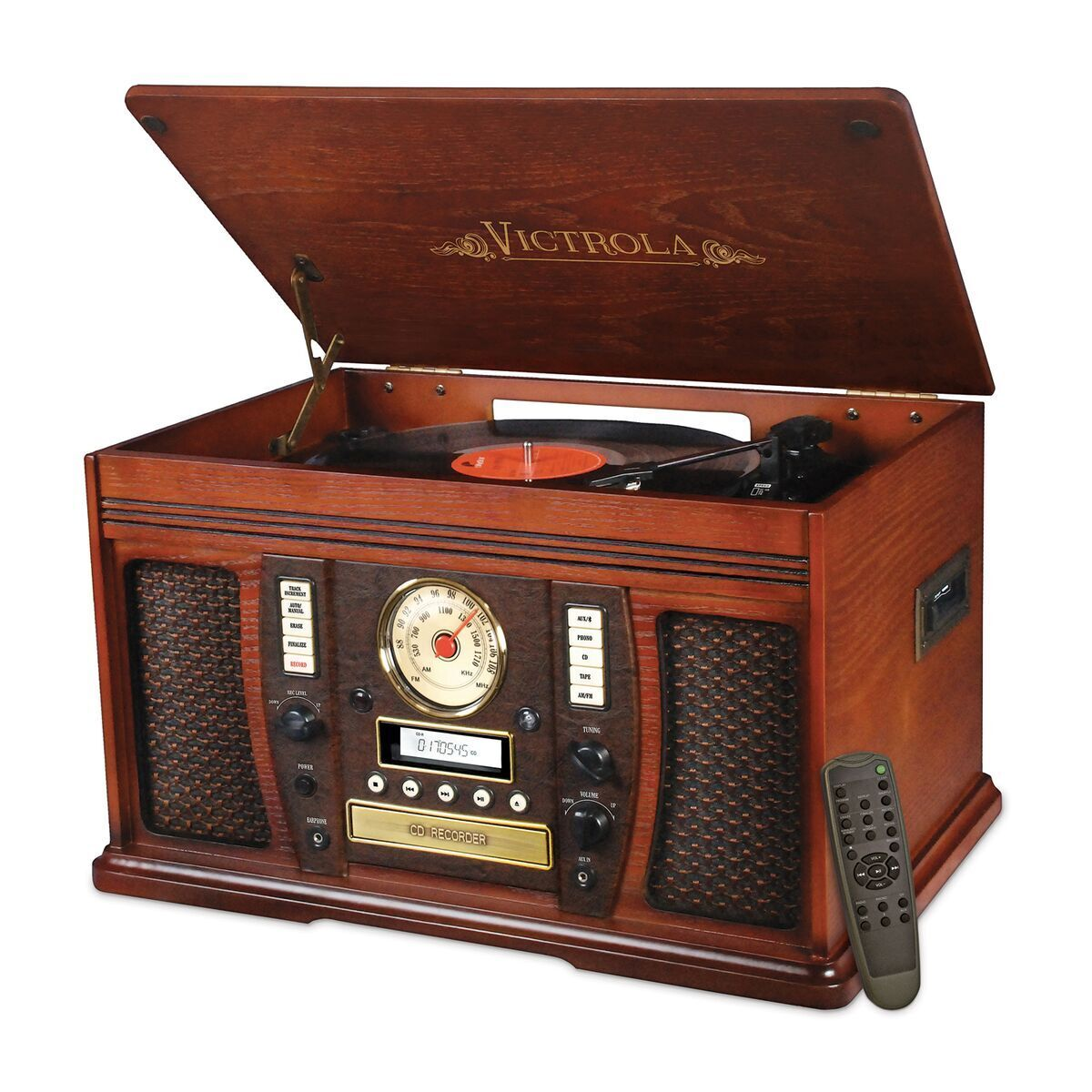 Innovative Itvs-750b The Aviator 7-in-1 Wooden Music Center with Bluetooth