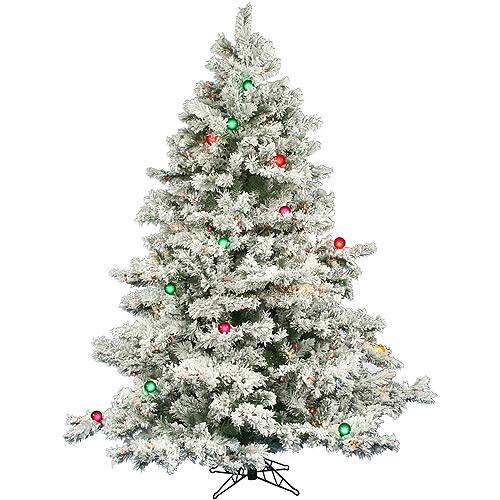"Pre-Lit 6.5' x 62"" Alaskan Dura-Lit Artificial Christmas Tree, Flocked White on Green, Multi-Colored Lights"