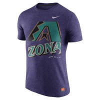Men's Nike Heathered Purple Arizona Diamondbacks Cooperstown Collection Logo Tri-Blend T-Shirt