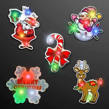 Assorted Christmas 2 Flashing Body Light Lapel Pins by, Blinkee Fun! By blinkee