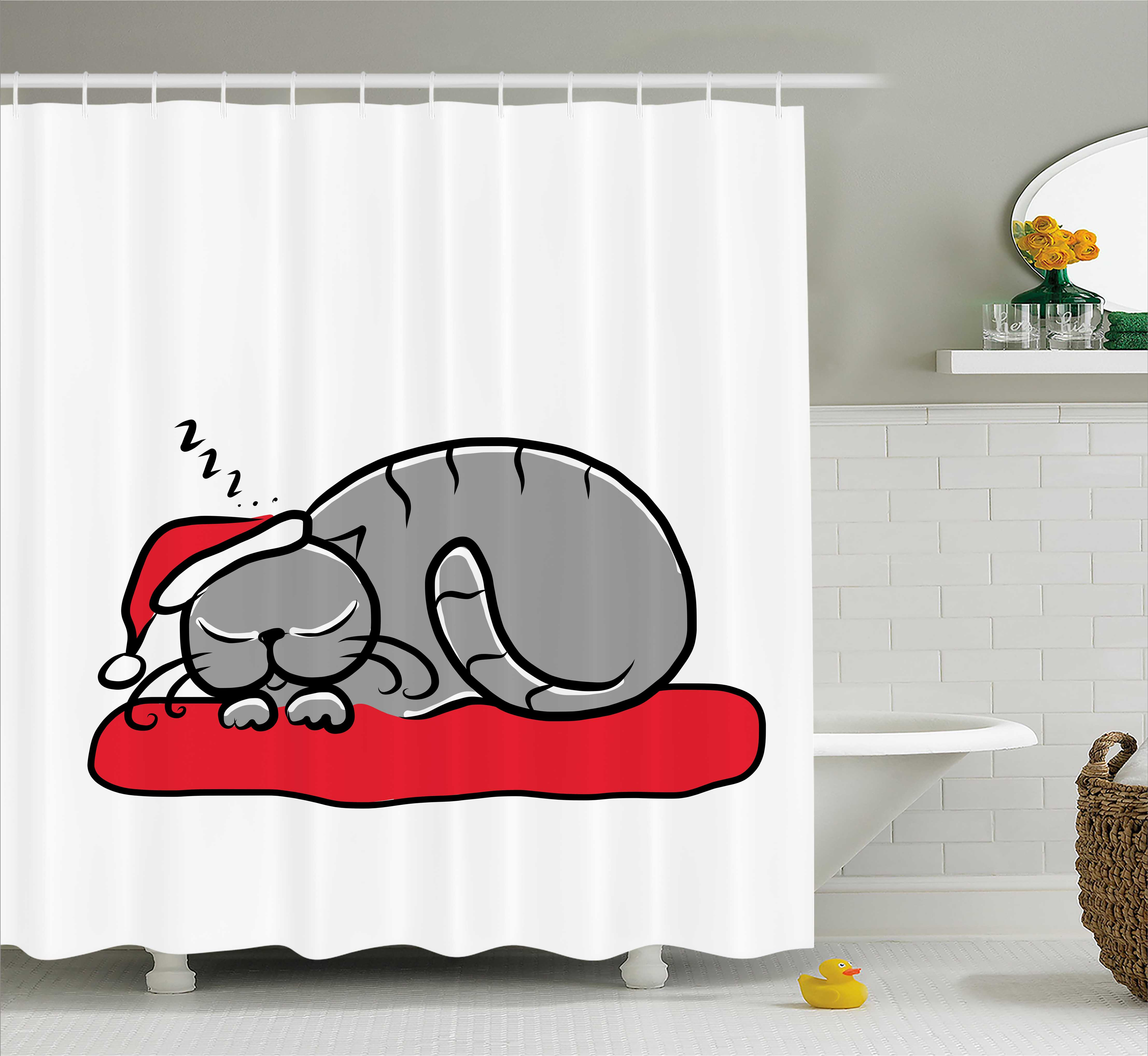 Christmas Decorations Shower Curtain, Cat with Santa Hat ...