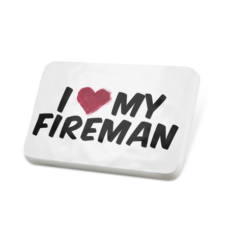 Porcelein Pin I heart love my Fireman Lapel Badge – - Fireman Badges