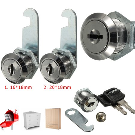 2Pcs 16mm 20mm Cam Lock Pull Drawer Cabinet Toolbox Mailbox Safe Replacement + 2 Keys