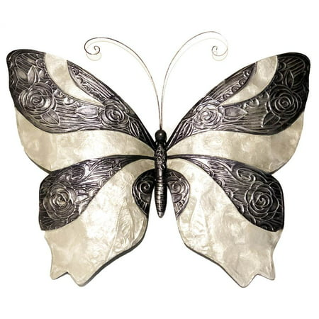 Butterfly Wall Decor in Pewter and Pearl Classic Pewter Outdoor Wall