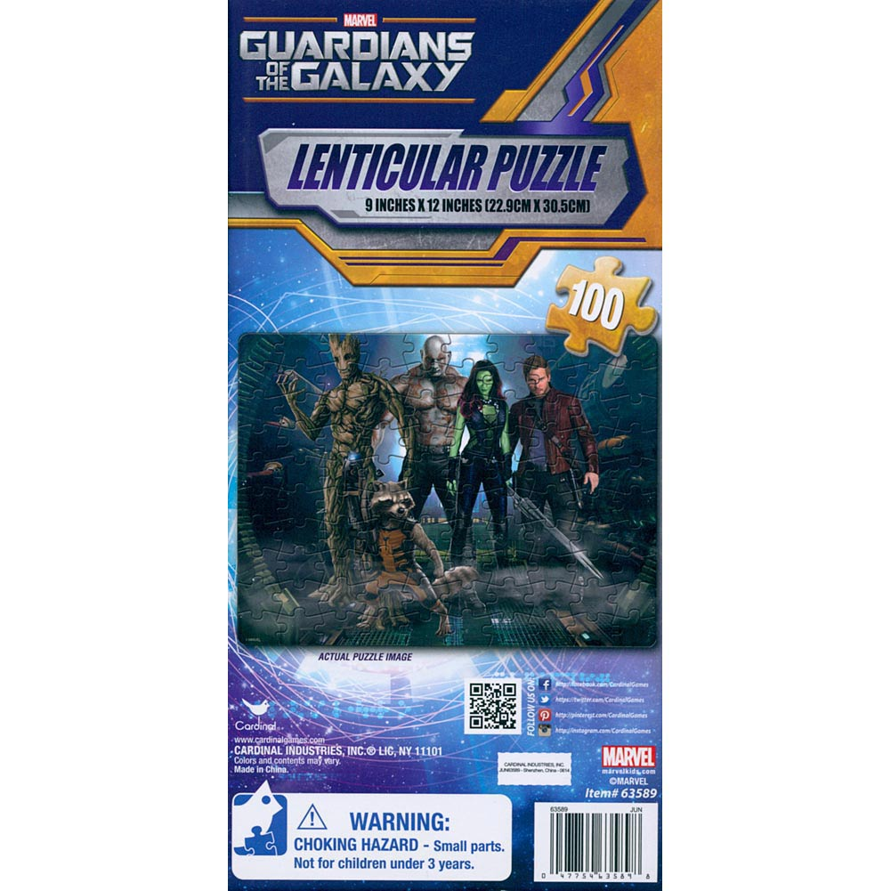 Guardians Of The Galaxy 100 Piece Lenticular Puzzle,  Action Movies by Cardinal