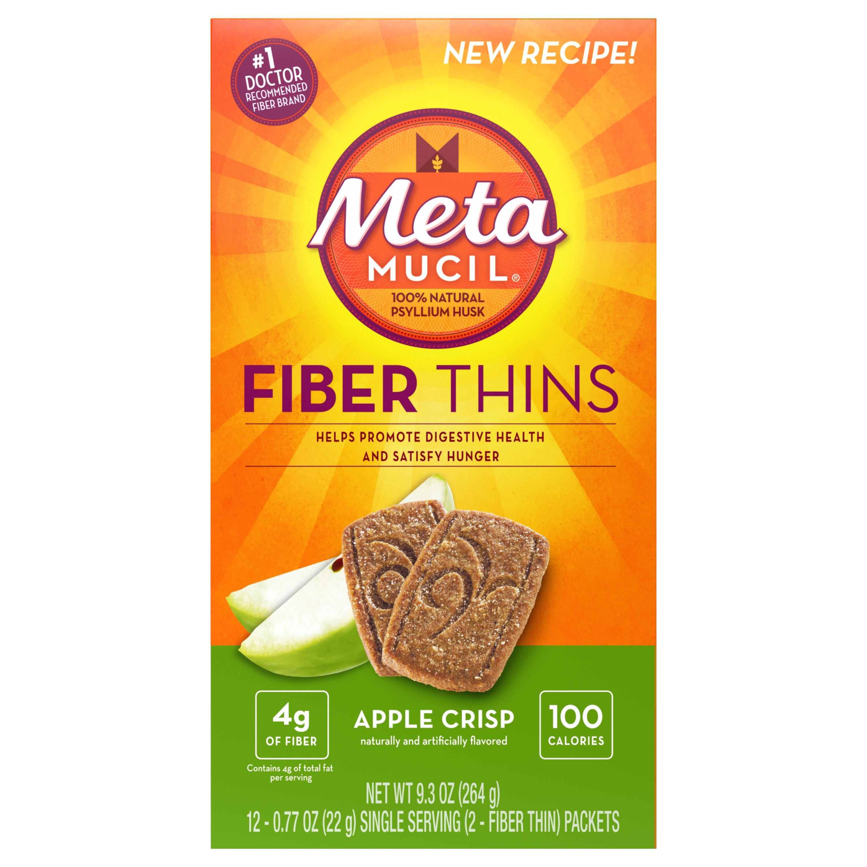 Metamucil Apple Crisp Flavored Fiber Thins Dietary Fiber Supplement with Psyllium Husk, 12 servings