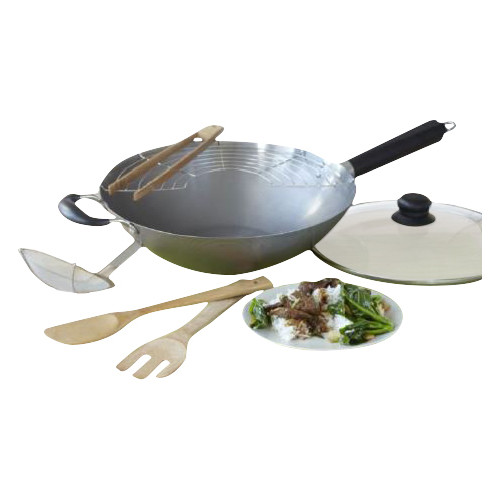 IMUSA WPAN-10022 Non-Coated Asian Wok Set 7-Piece, Grey