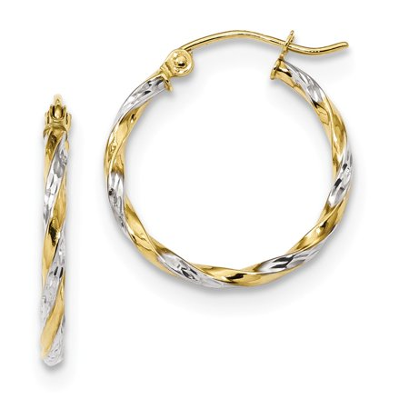 10k Yellow and White Gold Two Tone Hollow Twisted Hoop Earrings (19.7mm x 21.3mm)
