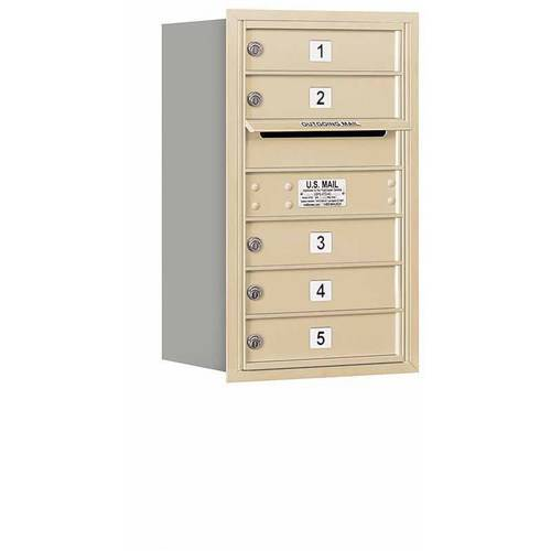 "Salsbury Industries 4C Horizontal Mailbox 7-Door High Unit (27""), Single Column, 5 MB1 Doors, Aluminum, Rear Load, USPS Access"