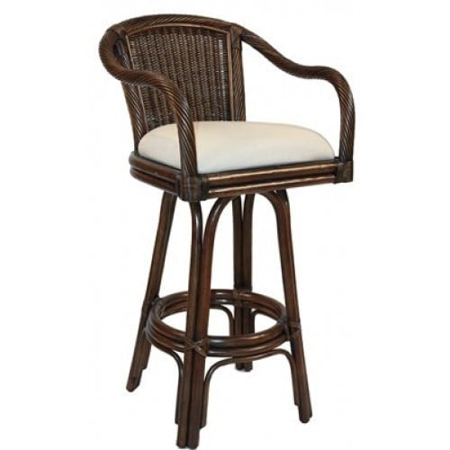 Hospitality Rattan Key West Indoor Swivel Antique Finish Rattan And