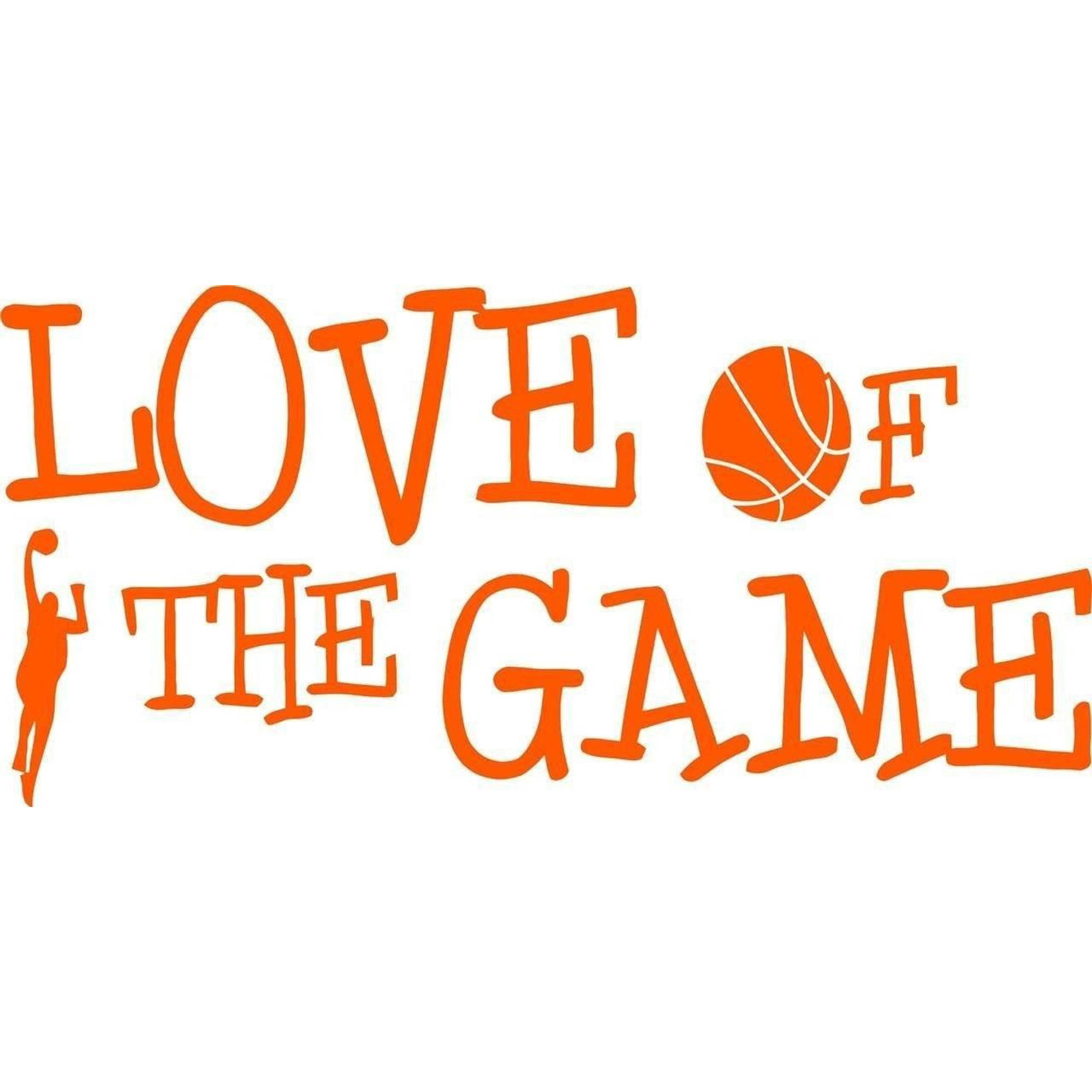 "Love Of The Game Basketball Sports Bedroom Vinyl Wall Decal, 7"" x 20"", Orange"