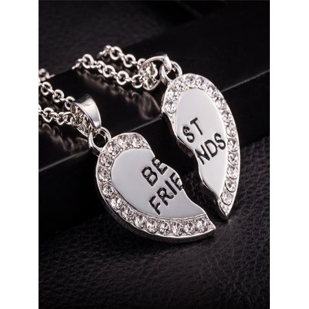 Best Friend Printed Unisex Heart Pendant Necklace Jewelry Chain