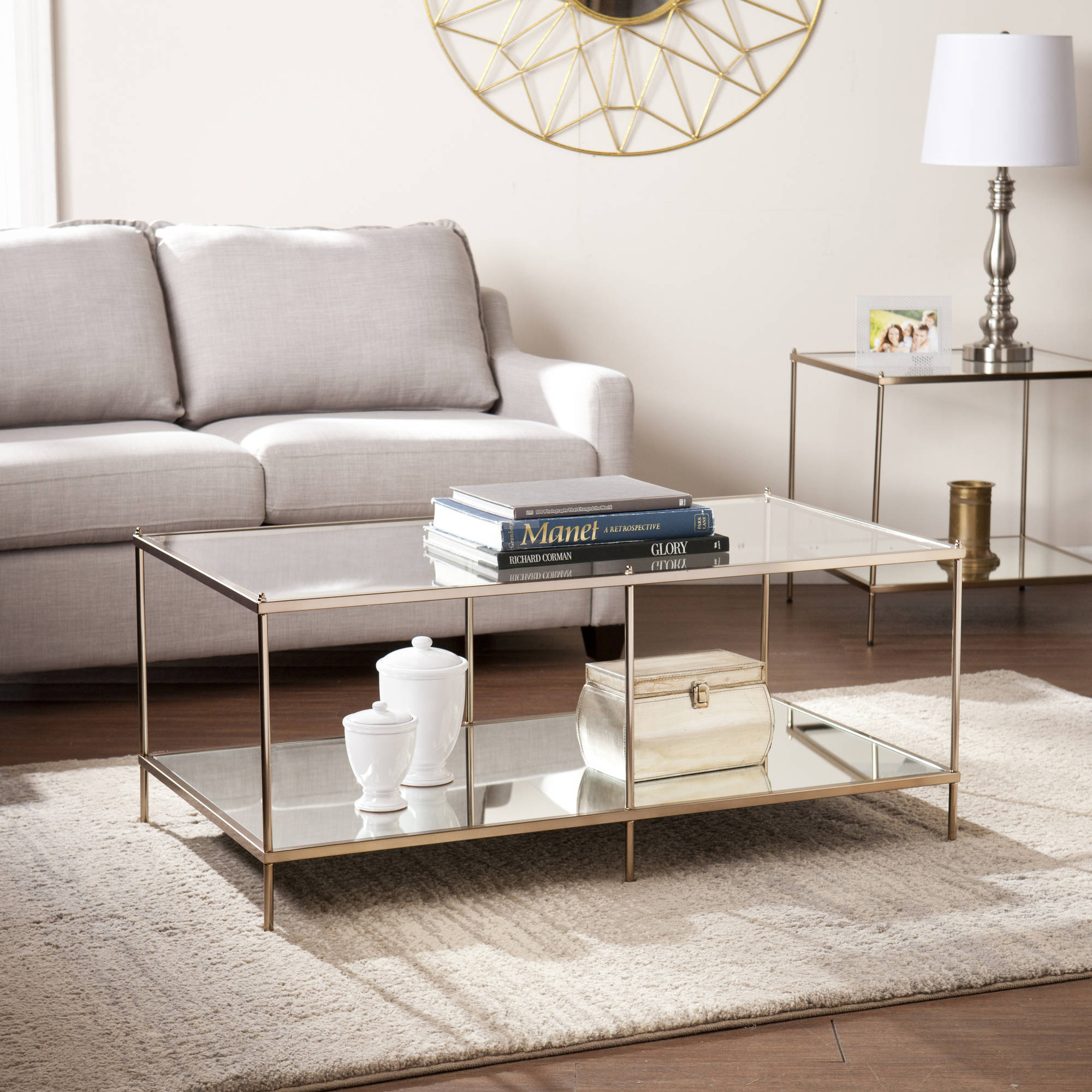 SEI Glam Metal and Glass Coffee Table, Metallic Gold
