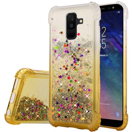 Gold Tone Tank Case (Samsung Galaxy A6 (2018) Case, by Insten Two Tone Quicksand Glitter PC/TPU Rubber Case Cover For Samsung Galaxy A6 (2018) -)