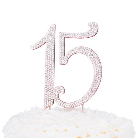 15 Cake Topper Rhinestone Rose Gold 15th Birthday Quinceanera Number Decoration