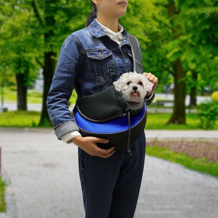 Pet Pouch (Pet Puppy Carrier Sling Hands-Free Shoulder Travel Bag. Great For Walking Your Pet. Dog Cat Pet Puppy Outdoor Reversible Pouch Mesh Shoulder Carry Bag Tote Handbag Carrier- (Blue/Small) )