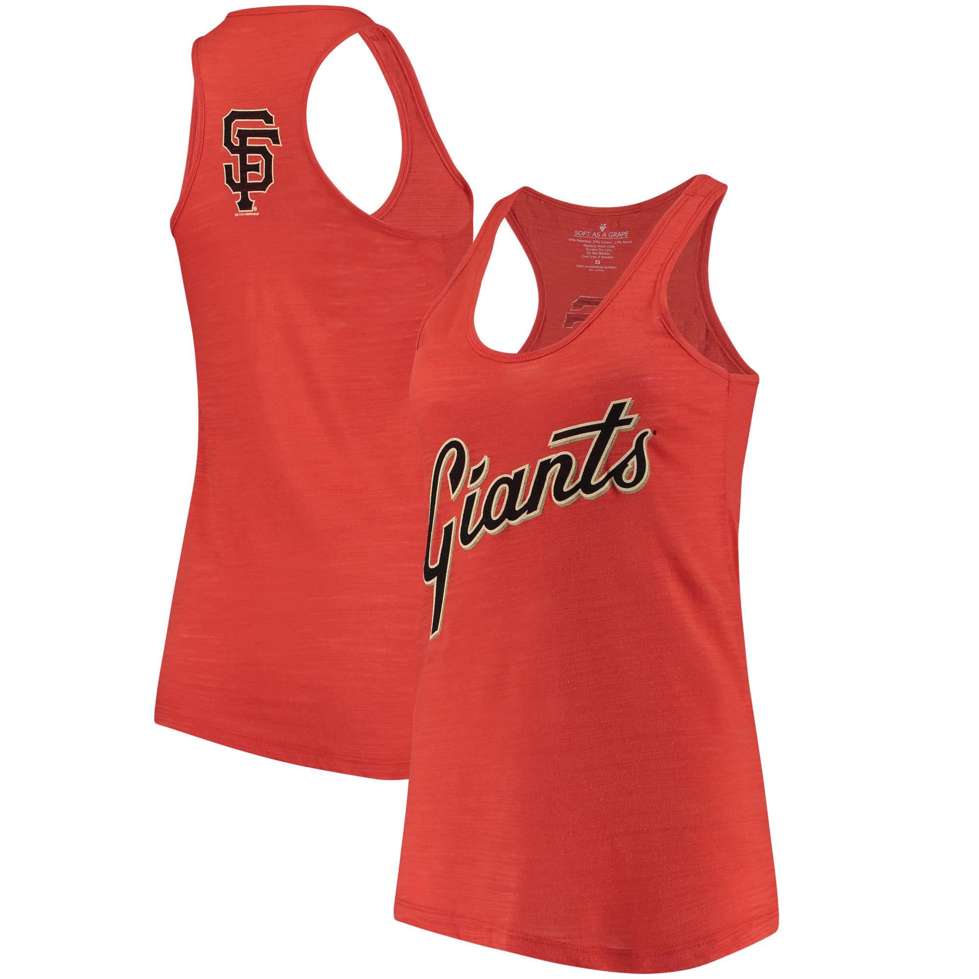 San Francisco Giants Soft As A Grape Women's Front & Back Tri-Blend Racerback Tank Top - Orange
