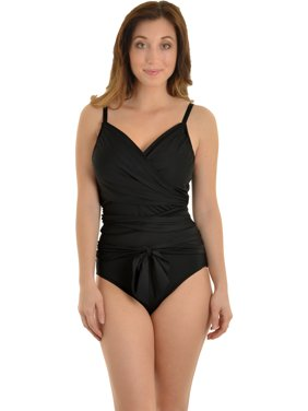 9141f0ee44 Product Image Leilani Women's Black Bathing Suit 1 Piece Wrap Around  Swimsuit Unique Swimwear