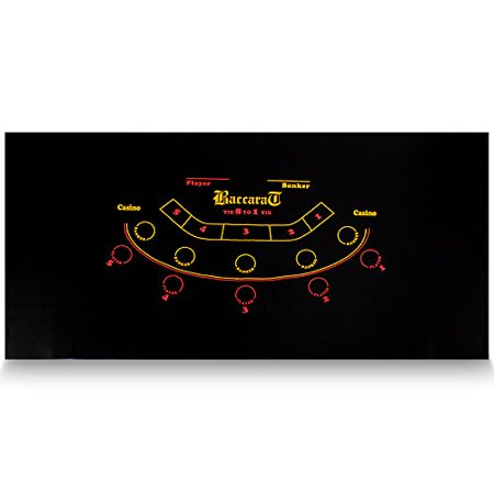 "Brybelly Baccarat Black Casino Gaming Table Felt Layout, 36"" x 72"""