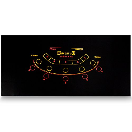 """Brybelly Baccarat Black Casino Gaming Table Felt Layout, 36"""" x 72"""""""