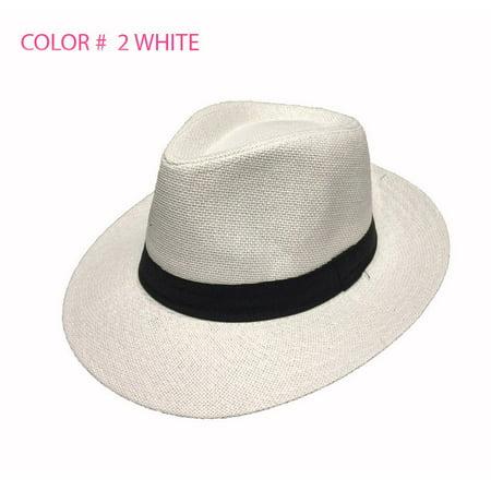 012fca7d1 Women Men Brown Fedora Trilby Gangster Cap Summer Beach Sun Straw Panama  Hat Bow