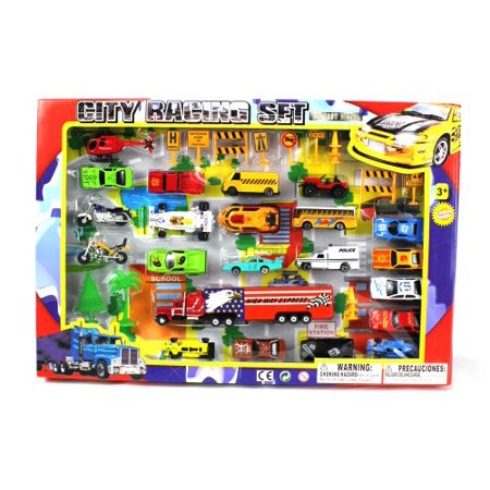 Metro Deluxe City Speed Racing 40 Piece Mini Toy Diecast Vehicle Play Set, Comes with Street Play Mat, Variety of Vehicles