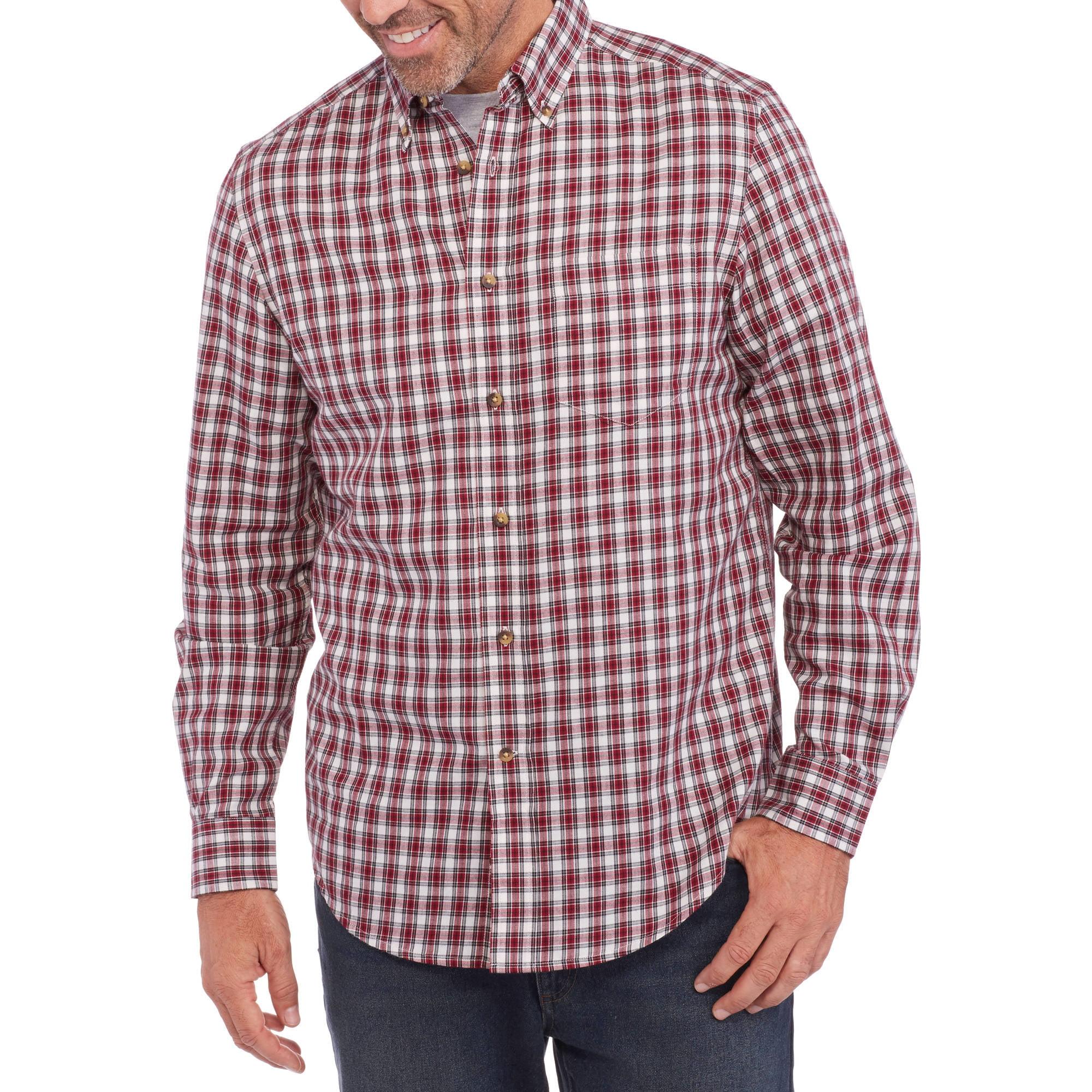 George Men's Long Sleeve Twill Plaid Shirt