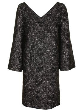 b49ff9e0756 Product Image Jessica Howard Plus Size Black Silver Metallic Chevron V-Neck  Shift Dress 16W