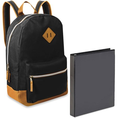17.5;; Classic Backpack With Reinforced Vinyl Bottom and Comfort Padding and Avery Showcase Vinyl Round Ring View Binder, 1; Black Bundle