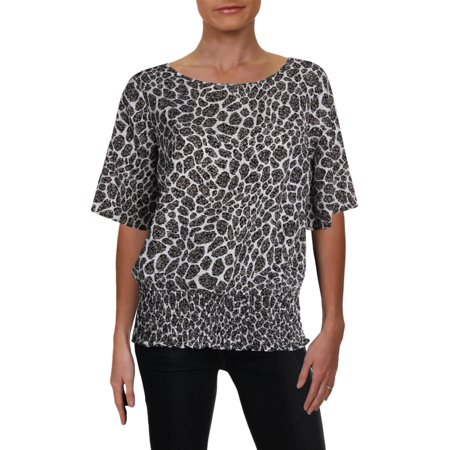 Smocked Animal (MICHAEL Michael Kors Womens Animal Print Smocked Blouse B/W XS)