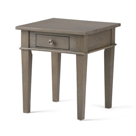 Brooklyn + Max Richland Solid Wood 18 inch Wide Square Contemporary End Side Table in Farmhouse Grey