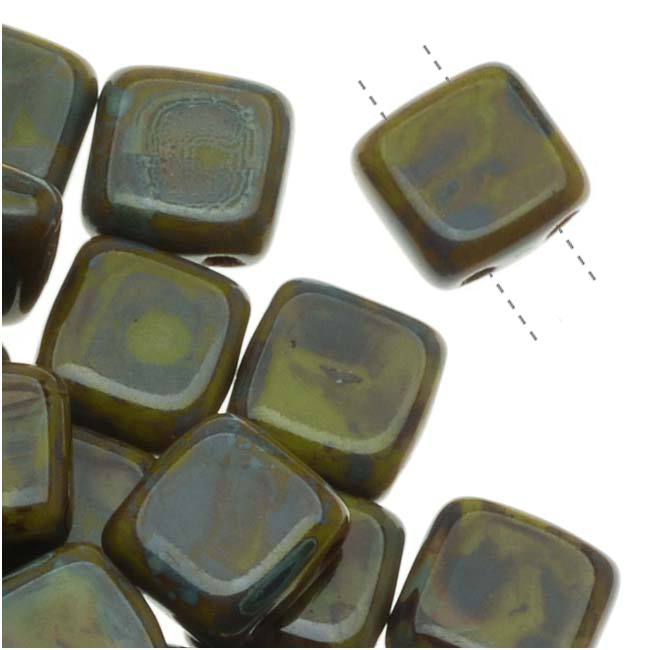 Czech Glass 2-Hole Square Beads 6mm 'Opaque Olive Picasso' (1 Strand)
