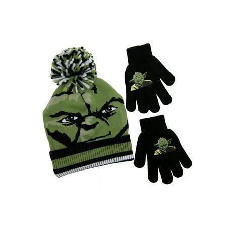 Star Wars Yoda Youth Pom Beanie Hat with Gloves