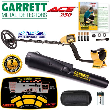 Garrett ACE 250 Metal Detector with Waterproof Coil and Pro-Pointer