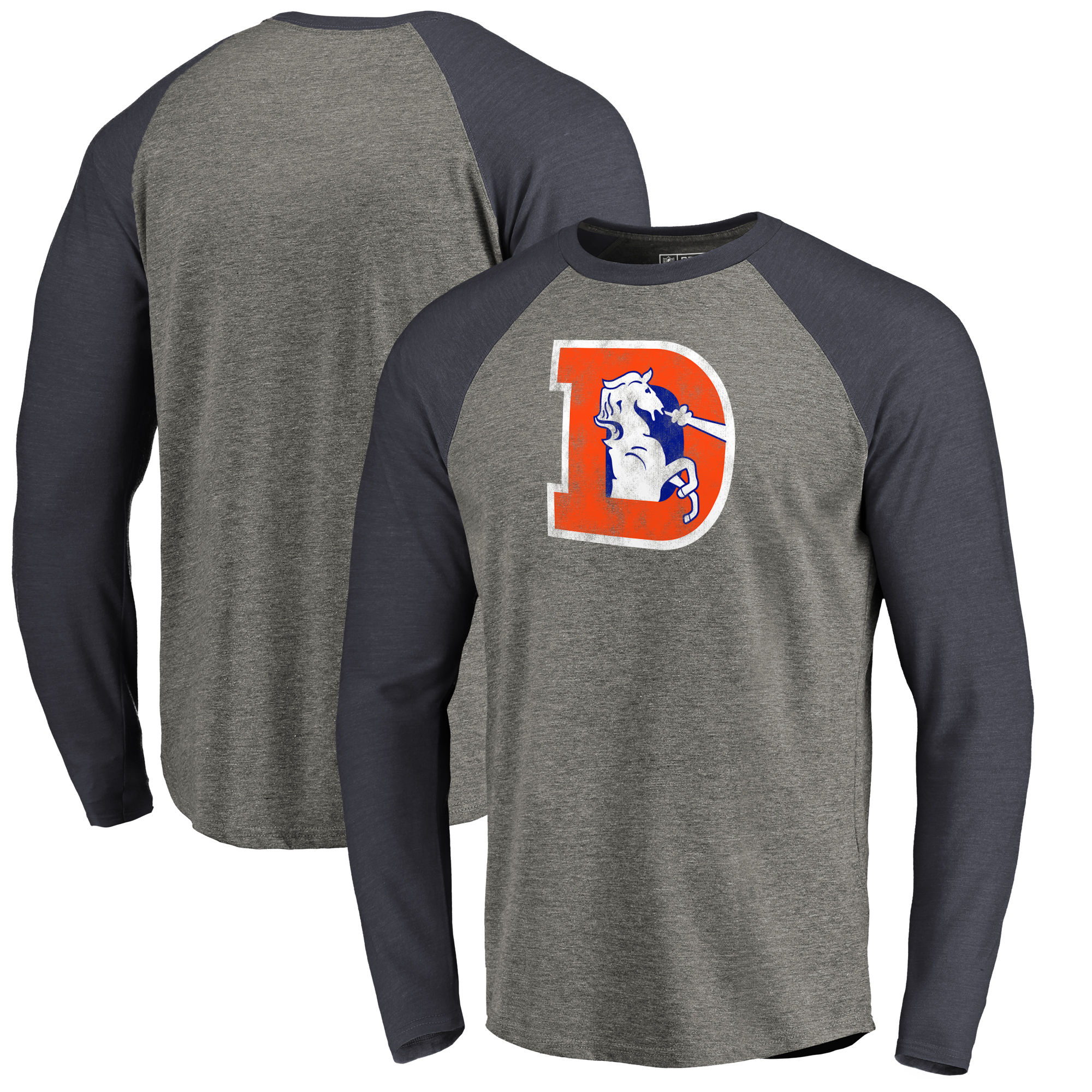 sale retailer 29122 9cdb1 Denver Broncos NFL Pro Line by Fanatics Branded Throwback Logo Big & Tall  Long Sleeve Tri-Blend Raglan T-Shirt - Gray/Navy