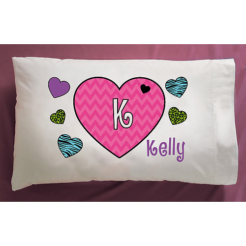 Personalized Hearts Pillowcase