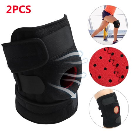 TSV 1/2pcs Adjustable Knee Brace Support, Open Patella Knee Brace with Non-Slip Silicone Grip Bands & Double Lateral Stabilizers, Breathable Knee Brace for Arthritis Pain and Support for Women, Men Lateral Knee Pain