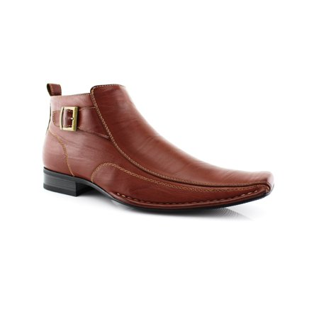 Ferro Aldo Theo MFA606319 Brown Men's Ankle Boots Design With Leather Lining Zipper Buckle Straps Dress Shoes For Work or Casual Wear ()