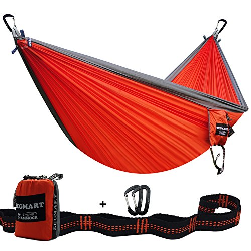 Camping Hammock- Easy Hanging Double Hammock with Tree Straps&Carabiners, 600lbs-Blue/Silver, I0095