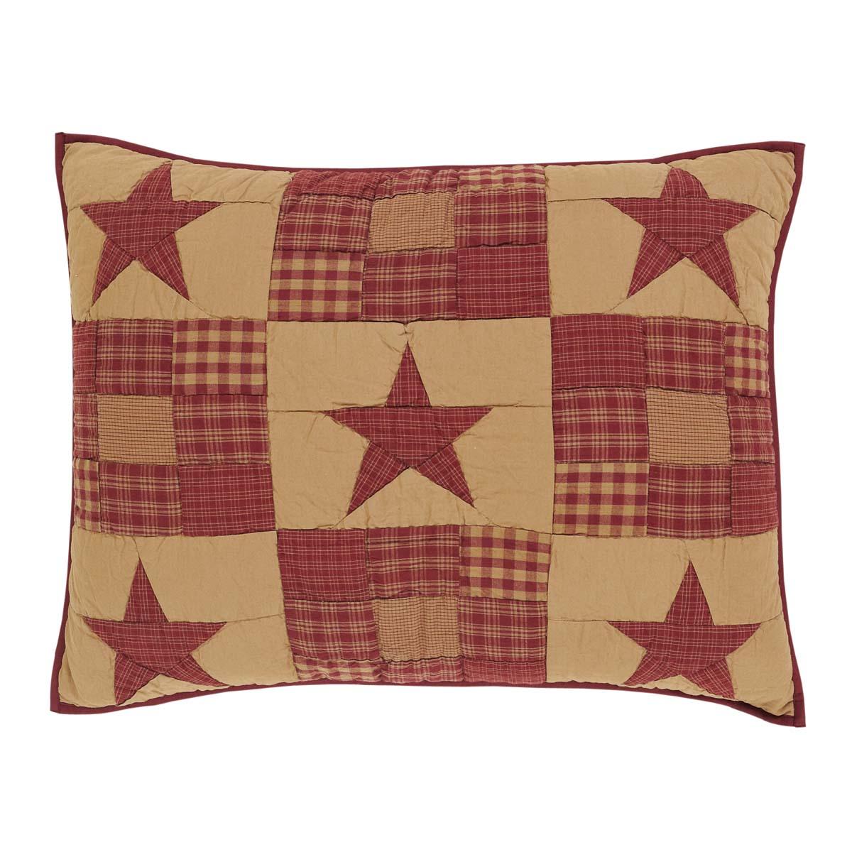 Burgundy Red Primitive Bedding Cody Burgundy Star Cotton Hand Quilted Patchwork Star Standard Sham