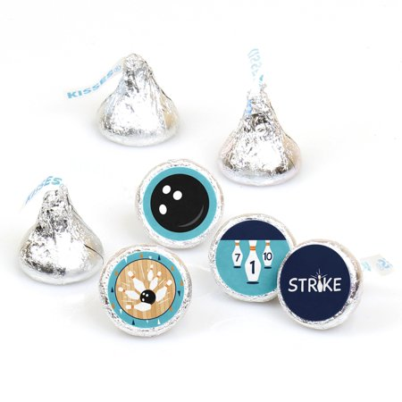 Strike Up the Fun - Bowling - Birthday Party or Baby Shower Round Candy Sticker Favors - Labels Fit Hershey's Kisses (1](Bowling Party Decor)