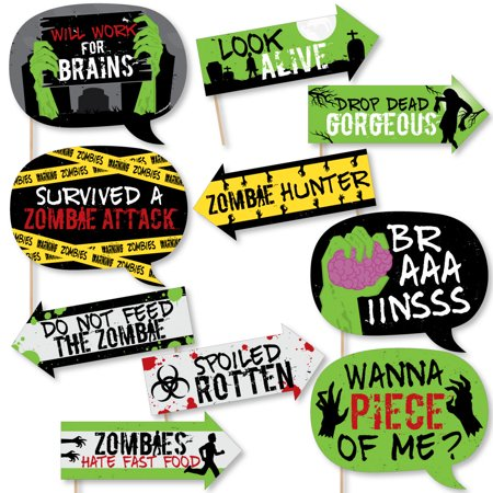 Funny Zombie Zone - Halloween or Birthday Zombie Crawl Party Photo Booth Props Kit - 10 Piece