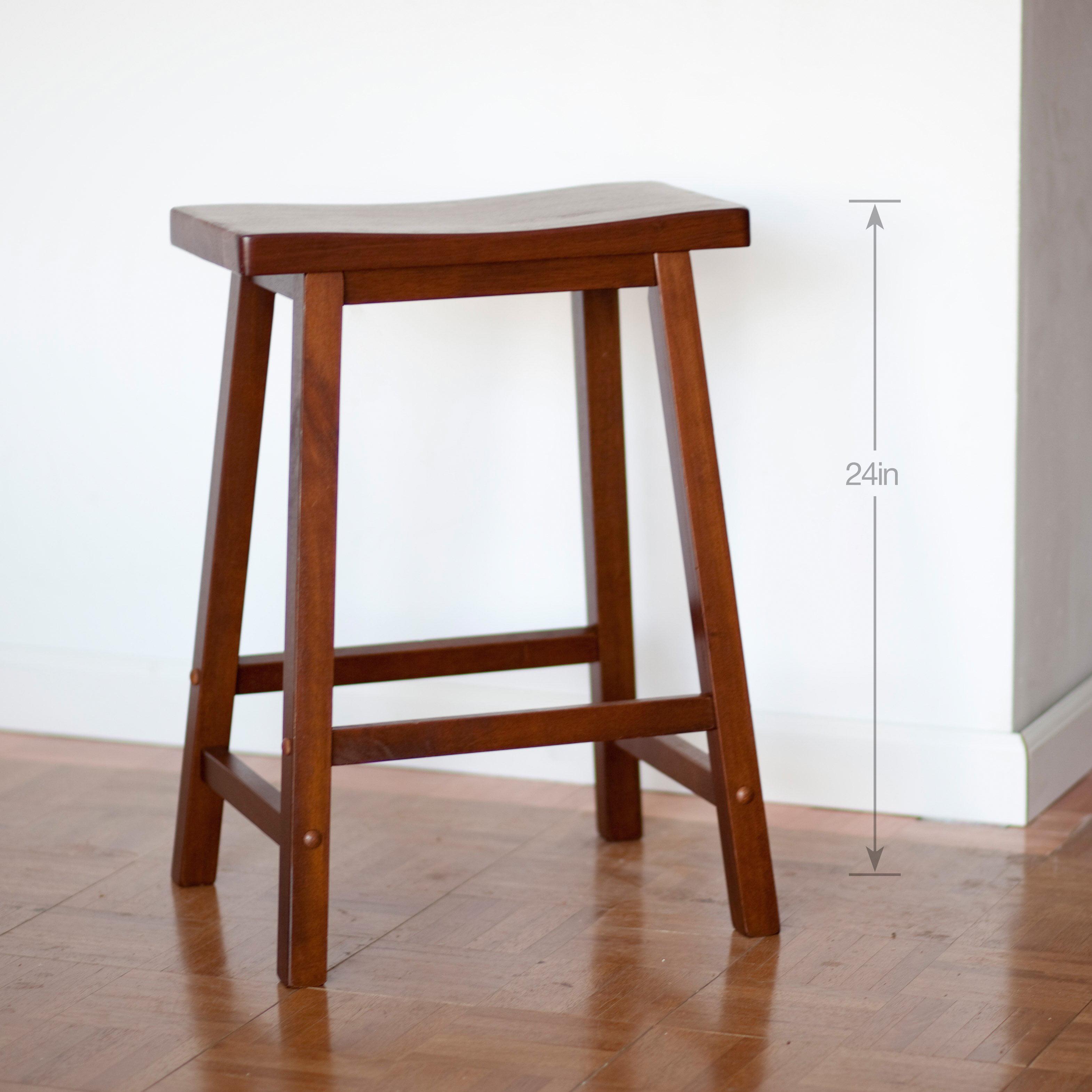 Winsome Wood 24 Inch Rta Single Saddle Seat Counter Stool Walnut
