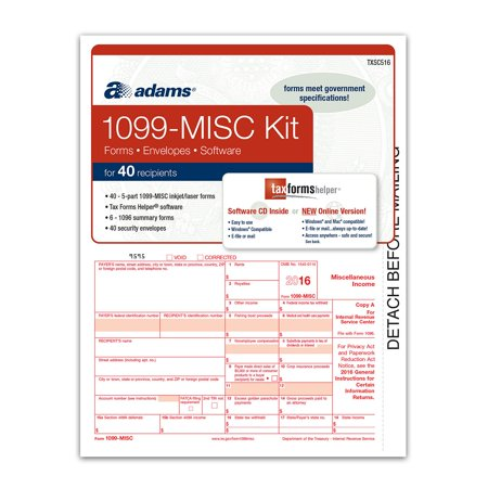 adams 2016 1099 misc tax forms software kit