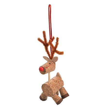 Fun Express - Cork Reindeer Ornament Craft Kit for Christmas - Craft Kits - Ornament Craft Kits - Non Foam - Christmas - 12 - Reindeer Handprint Craft