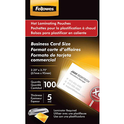 Fellowes Laminating Pouches, Business Card, 100pk