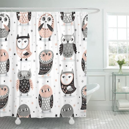 PKNMT Aztec Cute Owls and Stars in Pink Grey Colors Polyester Shower Curtain 60x72 inches